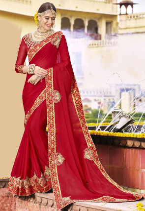 Embroidered Satin Chiffon Saree in Red