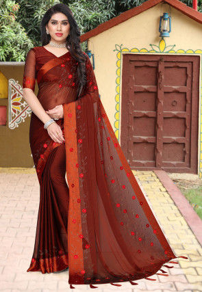 Embroidered Satin Chiffon Saree in Rust