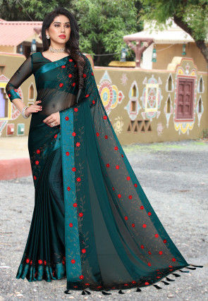 Embroidered Satin Chiffon Saree in Teal Blue