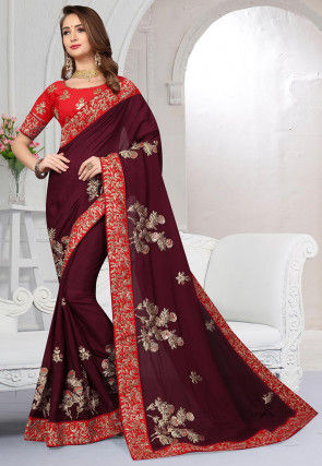Embroidered Satin Chiffon Saree in Wine