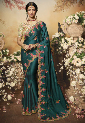 Embroidered Satin Chiffon Scalloped Saree in Dark Teal Blue