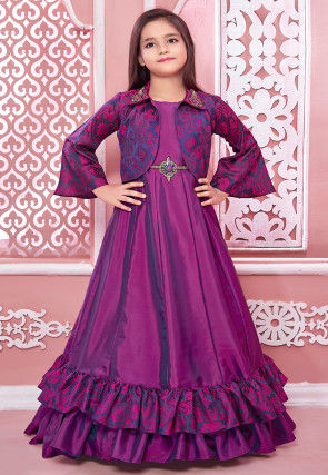 Embroidered Satin Flared Gown in Purple