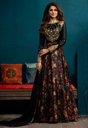 Embroidered Satin Georgette Abaya Style Suit in Black