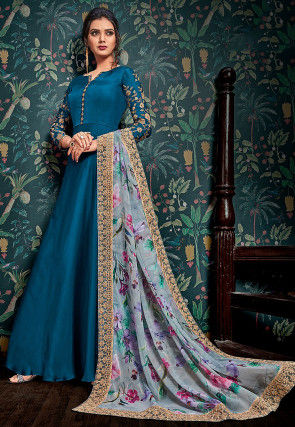 Embroidered Satin Georgette Abaya Style Suit in Blue