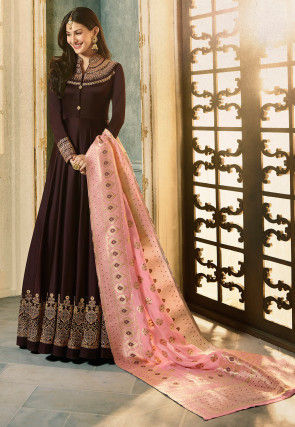Embroidered Satin Georgette Abaya Style Suit in Dark Brown