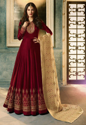 Embroidered Satin Georgette Abaya Style Suit in Maroon