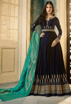 Embroidered Satin Georgette Abaya Style Suit in Navy Blue