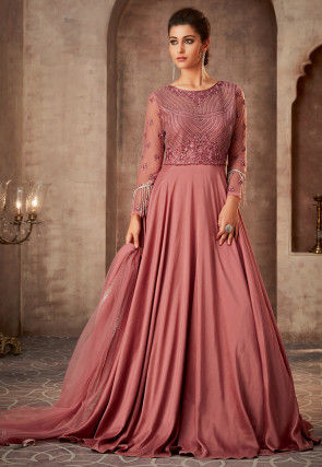 Embroidered Satin Georgette Abaya Style Suit in Rose Gold