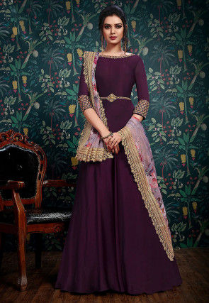 Embroidered Satin Georgette Abaya Style Suit in Violet