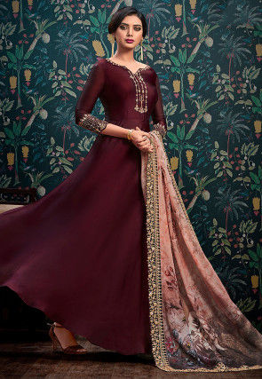 Embroidered Satin Georgette Abaya Style Suit in Wine