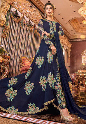 Embroidered Satin Georgette Front Slit Abaya Style Suit in Blue