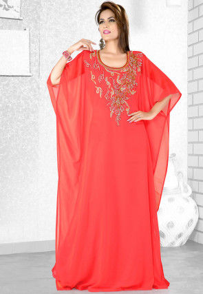 Embroidered Satin Georgette Kaftan in Coral Red