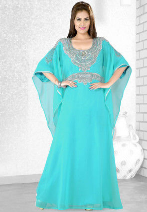 Embroidered Satin Georgette Kaftan in Turquoise