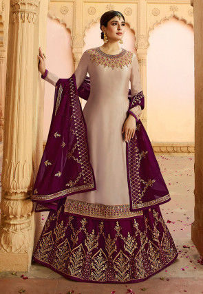 Embroidered Satin Georgette Lehenga in Beige