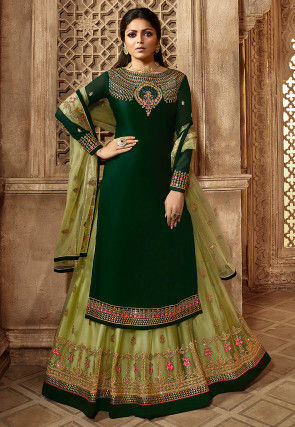 Embroidered Satin Georgette Lehenga in Dark Green