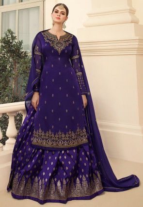 Embroidered Satin Georgette Lehenga in Indigo Blue