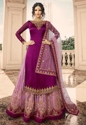 Embroidered Satin Georgette Lehenga in Magenta