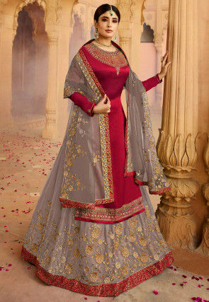 Embroidered Satin Georgette Lehenga in Maroon and Grey