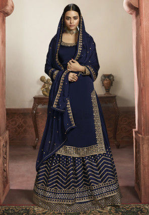 Embroidered Satin Georgette Lehenga in Navy Blue