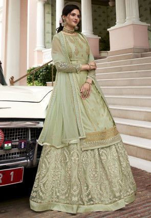 Embroidered Satin Georgette Lehenga in Pastel Green