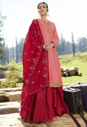 Embroidered Satin Georgette Lehenga in Peach