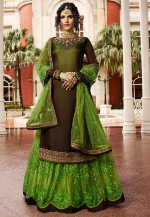Embroidered Satin Georgette Lehenga in Shaded Green and Brown