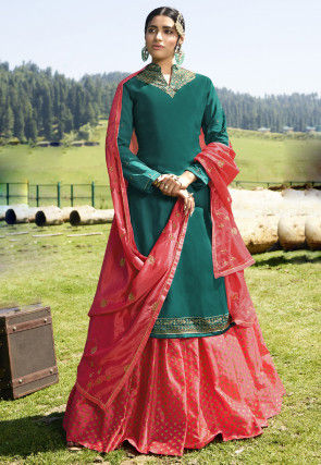 Embroidered Satin Georgette Lehenga in Teal Green