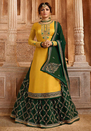Embroidered Satin Georgette Lehenga in Yellow