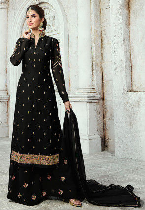 Embroidered Satin Georgette Pakistani Suit Black