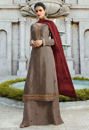Embroidered Satin Georgette Pakistani Suit Fawn