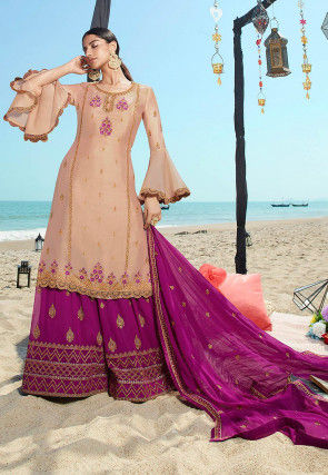 Embroidered Satin Georgette Pakistani Suit in Beige