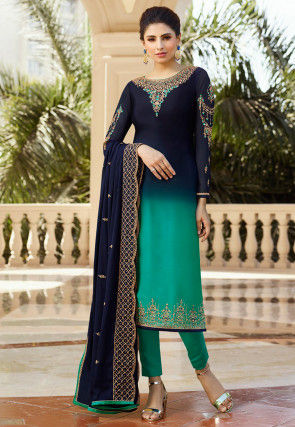 Embroidered Satin Georgette Pakistani Suit in Blue and Green