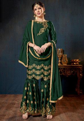 Embroidered Satin Georgette Pakistani Suit in Dark Green