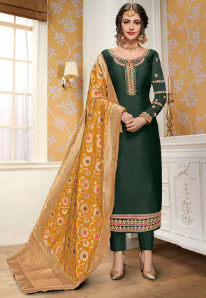 Embroidered Georgette Pakistani Suit in Dark Green