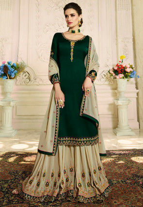 Embroidered Satin Georgette Pakistani Suit in Dark Green