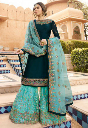 Embroidered Satin Georgette Pakistani Suit in Dark Teal Blue