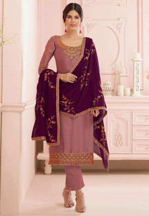 Embroidered Satin Georgette Pakistani Suit in Dusty Pink