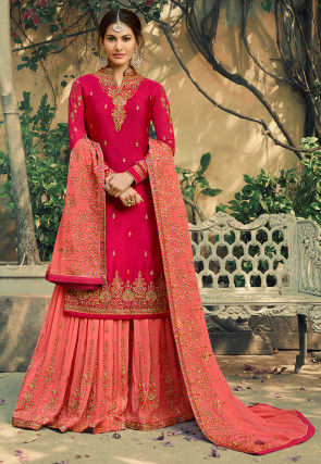 Embroidered Satin Georgette Pakistani Suit in Fuchsia