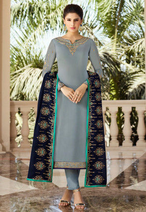 Embroidered Satin Georgette Pakistani Suit in Grey