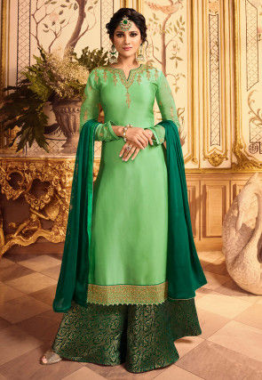 Embroidered Satin Georgette Pakistani Suit in Light Green
