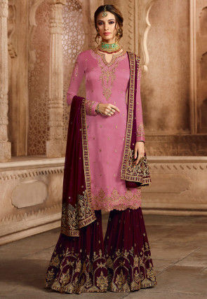 Embroidered Satin Georgette Pakistani Suit in Light Pink