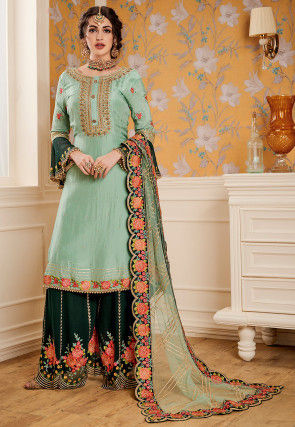 Embroidered Satin Georgette Pakistani Suit in Light Sea Green