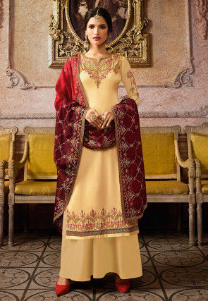 Embroidered Satin Georgette Pakistani Suit in Light Yellow
