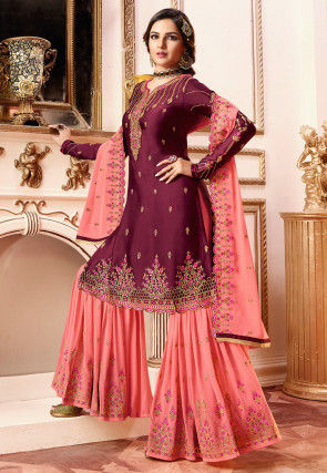 Embroidered Satin Georgette Pakistani Suit in Magenta
