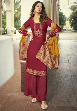 Embroidered Satin Georgette Pakistani Suit in Maroon