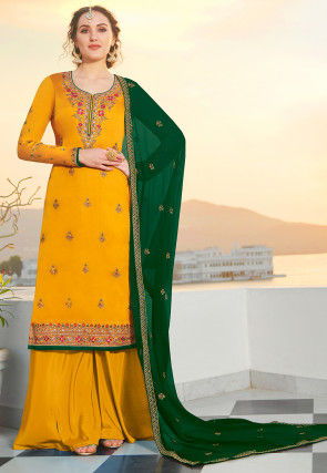 Embroidered Satin Georgette Pakistani Suit in Mustard
