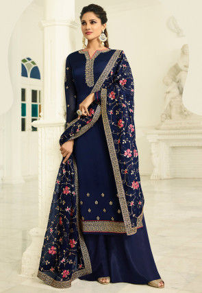Embroidered Satin Georgette Pakistani Suit in Navy Blue