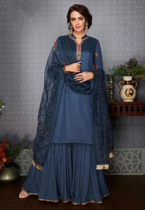 Embroidered Cotton Pakistani Suit in Teal Blue