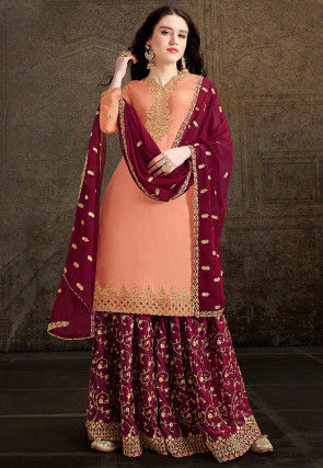 Embroidered Satin Georgette Pakistani Suit in Peach