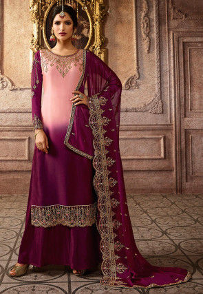 Embroidered Satin Georgette Pakistani Suit in Pink and Magenta